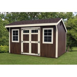 New England Quaker Shed - Brown with White Trim
