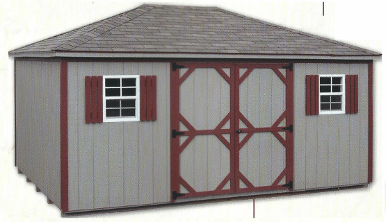 """12""""x16' Hip Cottage - Gray with Red Trim"""