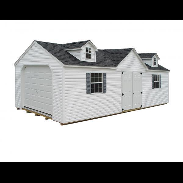 Victorian Garage - White with Gray Trim