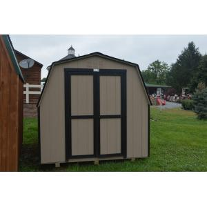 Low Wall Mini Barn - Beige with Black Trim