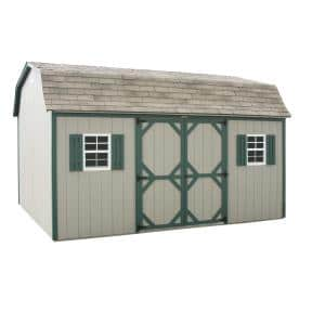 12x16 Super Barn - Beige with Green Trim