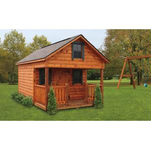 Country Style Playhouse - Brown with Green Trim