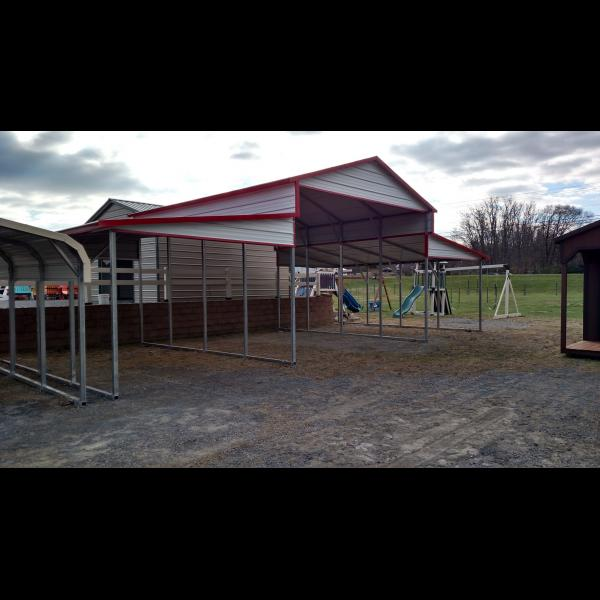 Standard Boxed Eave Carport - White with Red Trim