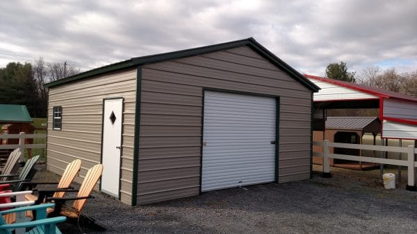Standard Vertical Carport Fully Enclosed - Beige with Green Trim