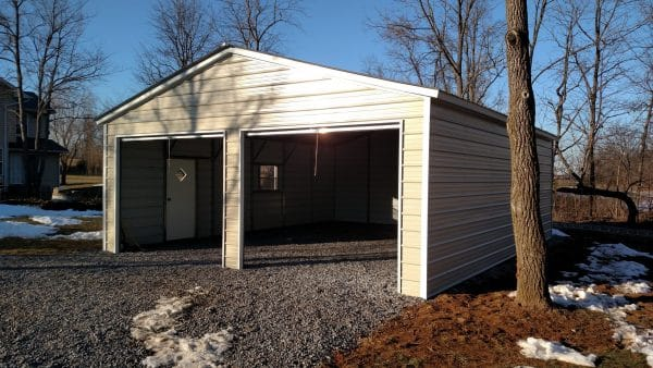 Standard Vertical Carport Fully Enclosed - Beige with White Trim