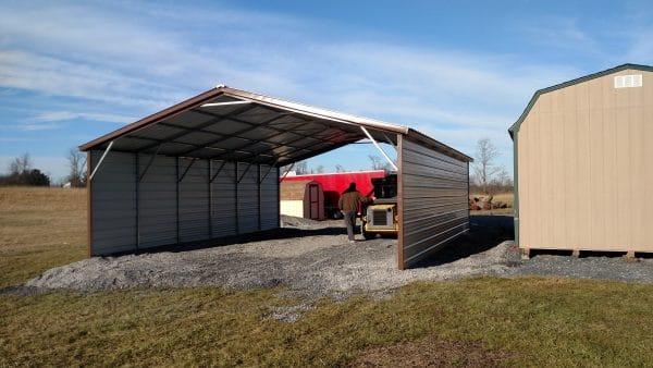 Standard Vertical Carport Sides Enclosed - Brown