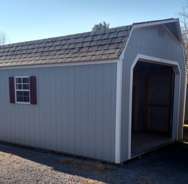 Super Barn Garage- Blue with White Trim