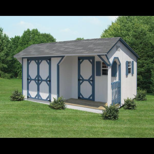 1Ox16 Quaker Shed with 3x8 Porch - White with Blue Trim