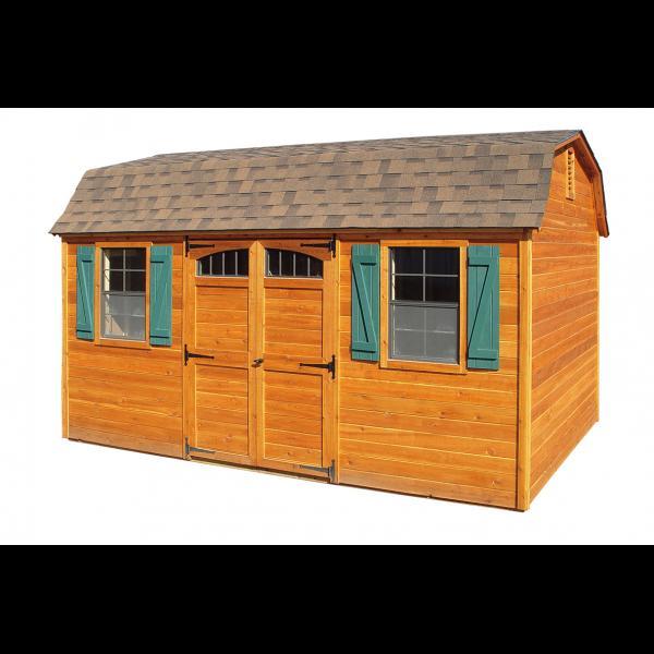 12x16 Cedar Super Barn - Brown with Green Trim