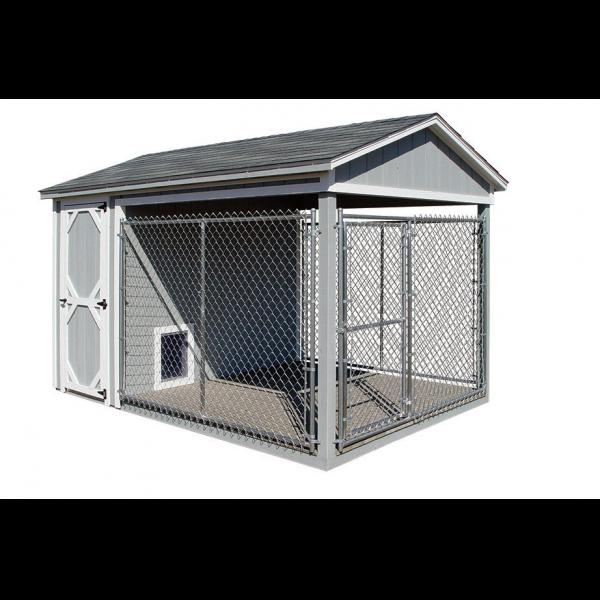 8x12 Dog Kennel - Gray with White Trim
