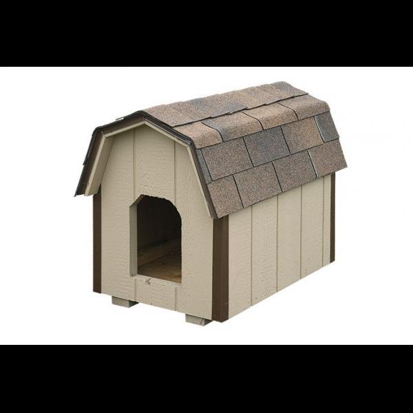 Medium Dog House - Beige with Brown Trim