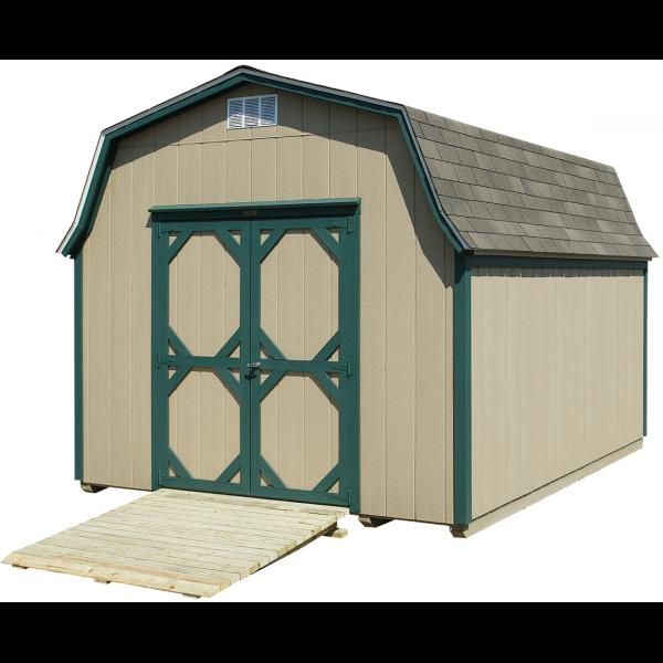 10x14 High Wall Mini Barn - Beige with Green Trim