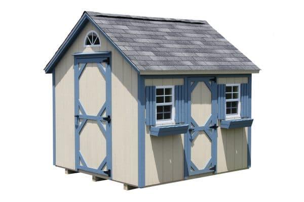 Mini Cottage Playhouse - Beige with Blue Trim