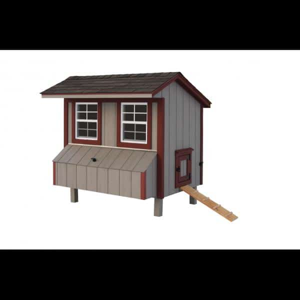 Chicken Coop - Beige with Red Trim