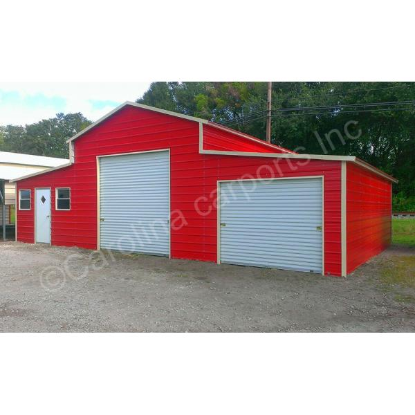 Boxed Eave Roof Style Carolina Barn Fully Enclosed All Around - Red with White Doors