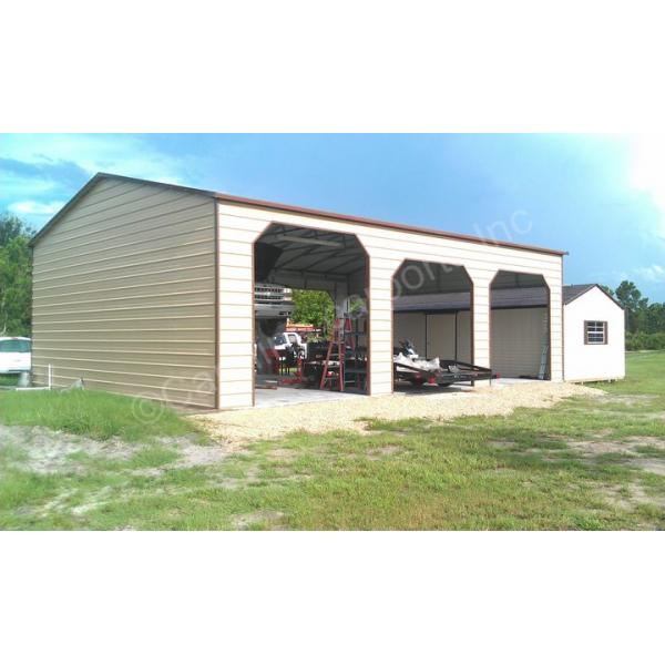 Boxed Eave Roof Style Carport with One End Closed- Beige with Brown Trim