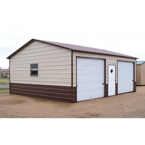 Boxed Eave Roof Style Fully Enclosed Garage - Beige with Brown Trim