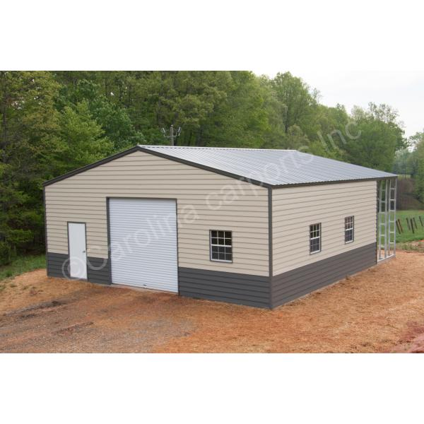 Vertical Roof Two Toned Fully Enclosed Building with Lap Siding - Beige and Brown